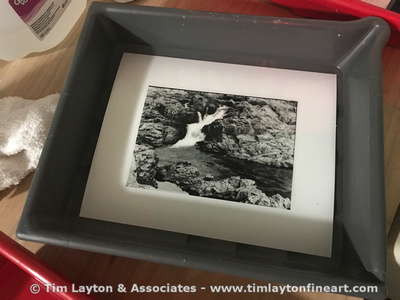 Rocky Creek Waterfall at Klepzig Mill large format B&W contact print by Tim Layton
