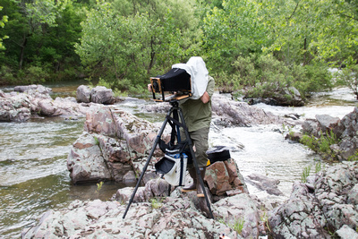 Tim Sr working in the field with his 8x10 Large Format View Camera.