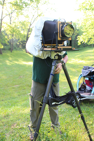 Tim Sr in the field with 8x10 large format view camera