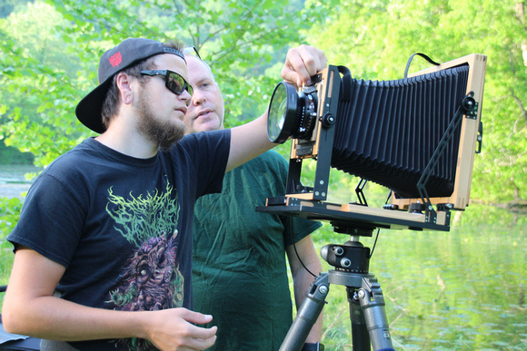 Tim Sr. and Tim Jr. working in the field with an 8x10 large format view camera