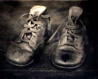 19th Century Baby Shoes on Black Glass Ambrotype