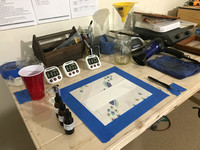 Getting my printmaking area ready to mix the chemicals and hand coat the Hahnemühle paper.