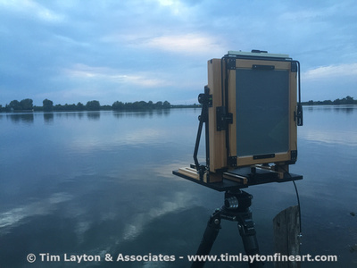 My Chamonix 8x10 large format field camera at Creve Coeur Lake waiting for sunset