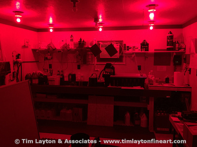 New overhead switched red LED lights in the off grid darkroom