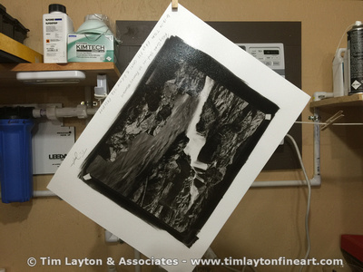 Rocky Creek Shut-ins in St. Francois Mountains - Pure Platinum Print Hanging to Dry